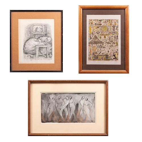 Lote de 3 obras. Consta de: a) Anónimo. Sin título. Grabado. 29 x 23 cm. b) Firmado Milán. Desnudos. Acuarela. 16 x 29 cm. Otro.