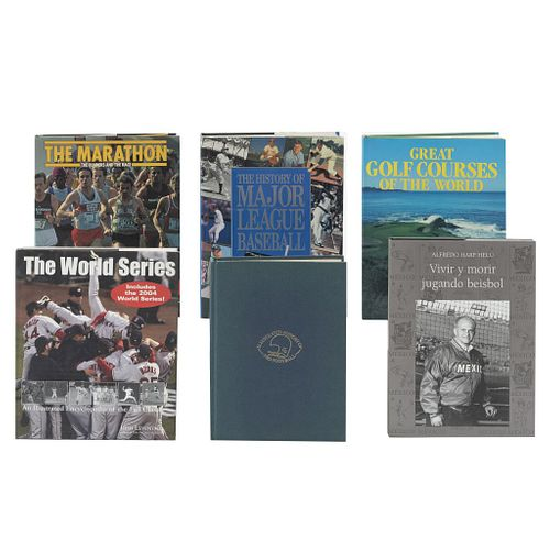 LIBROS SOBRE DEPORTES a) Great Golf Course of The World. b) The Marathon. c) The World Series. d) Vivir y Morir Jugando Beisbol. Pzs: 6