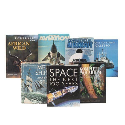 LIBROS SOBRE MEDIOS DE TRANSPORTE, FAUNA MARINA Y TERRESTRE. a) History of Aviation. b) Men Ships and The Sea. Piezas: 7.