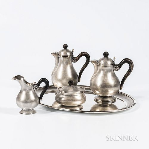 Five-piece Mario Buccellati .800 Silver Tea and Coffee Service, Milan, mid-20th century, each with a stippled ground, comprised of a te