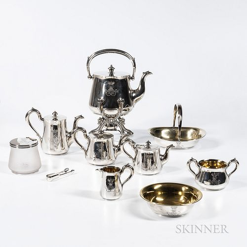 """Ten-piece Russian .875 Silver Tea and Coffee Service, St. Petersburg, c. 1860/61, marked with maker's mark """"NP"""" surmounted by the Imper"""