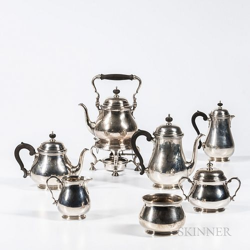 Seven-piece Tiffany & Co. Sterling Silver Tea and Coffee Service, New York, c. 1907-38, comprised of a kettle-on-stand with burner, cof