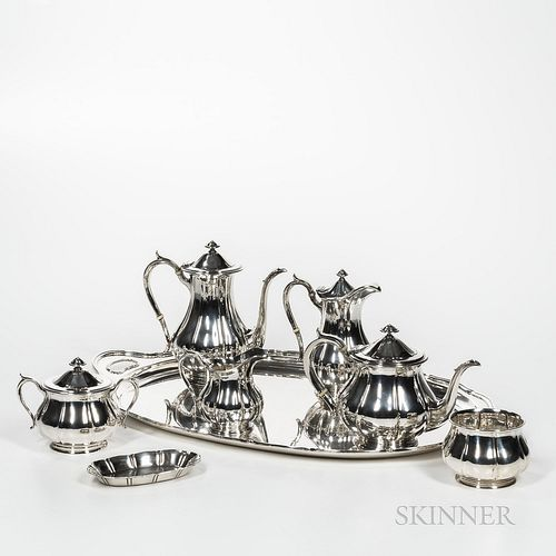 Eight-piece Arthur Stone Sterling Silver Tea and Coffee Service, Massachusetts, c. 1930, various craftsman's marks (Taylor, Underwood,
