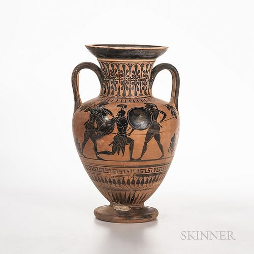 Ancient Greek/South Italian Black-figure Squat Amphora, c. 500-480 B.C., with a scene showing Hercules engaged in combat with three war