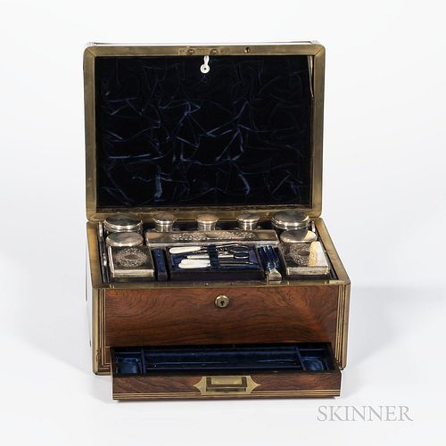 Brass-bound Hardwood Toiletry and Jewelry Box, England, 19th century, rectangular shape, the fitted interior revealing silver-plated an