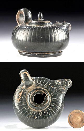 Campanian Lustrous Blackware Guttus Lion Head Spout