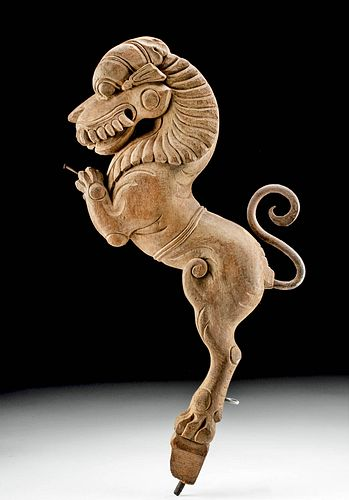 19th C. Indian Wood Carving - Lion Singha w/ Iron Tail
