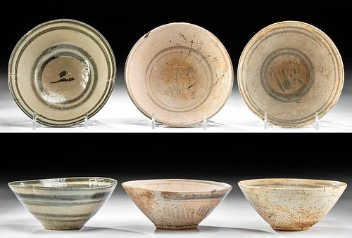 Lot of 3 Chinese Northern Song Glazed Pottery Bowls