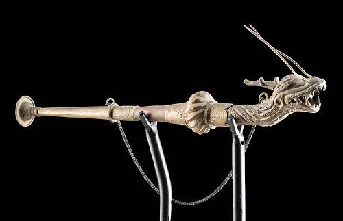19th C. Chinese Brass Trumpet w/ Dragon Head