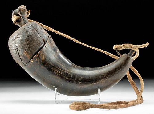 19th C. American Buffalo Horn and Leather Powder Horn