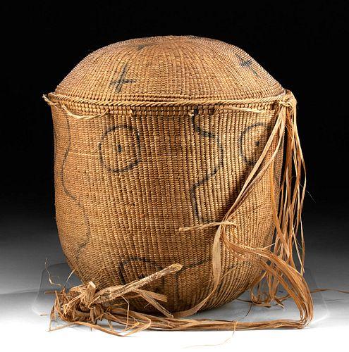 Late 19th C. Brazilian Woven Reed Basket w/ Lid