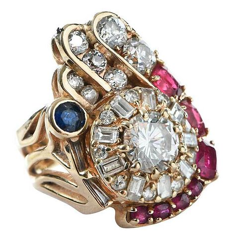 14kt. Gold, Diamond and Gemstone Ring