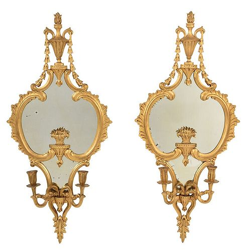 Pair Chippendale Style Giltwood Mirrored Sconces
