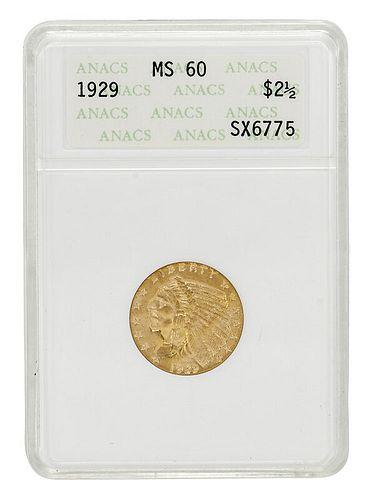 1929 Gold $2-1/2 Quarter Eagle Coin