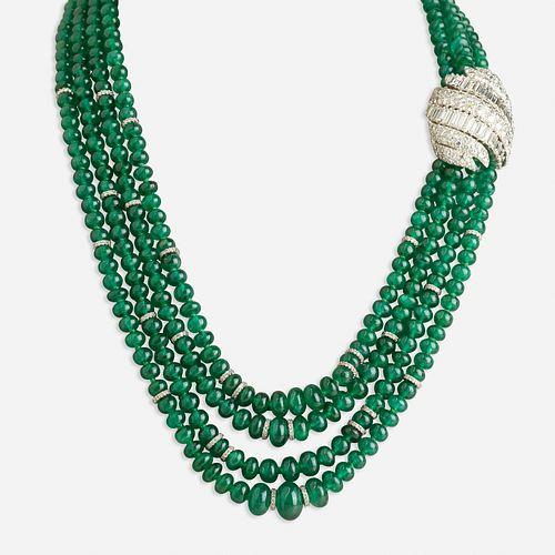 David Webb, Emerald and diamond necklace