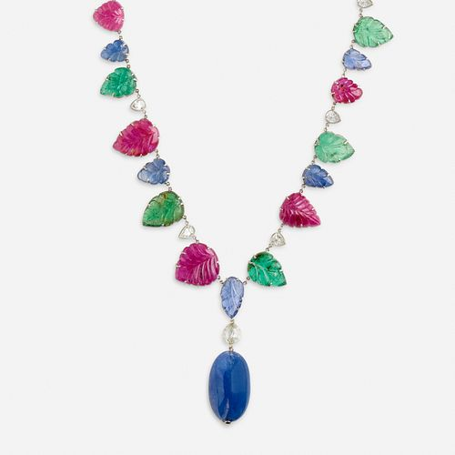 Carved ruby, sapphire, emerald and diamond sautoir necklace