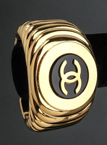 Chanel Runway Ribbed Logo Cuff Bracelet, c. 1982