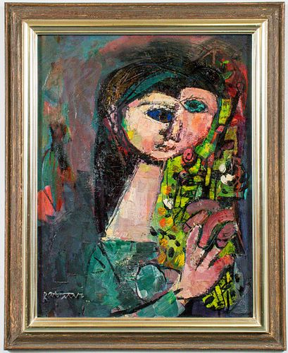 "Abraham Rattner ""Head & Flowers"" Oil on Canvas"