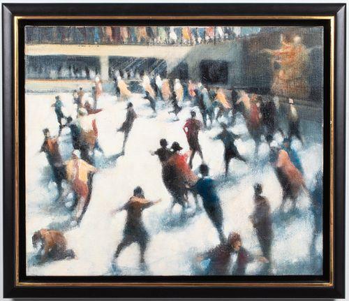 """Bill Jacklin """"Rockefeller Skaters"""" Oil on Canvas"""