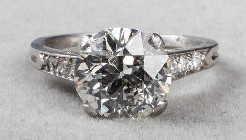 2.48 Ct. Old European Brilliant Plat Diamond Ring
