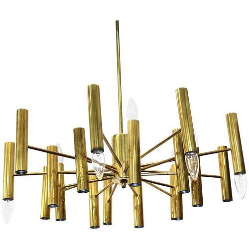 Scolari Style Mid-Century Modern Brass Chandelier