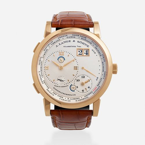 A. Lange & Sohne, Gold '1 Time Zone' wristwatch, Ref. 116.032