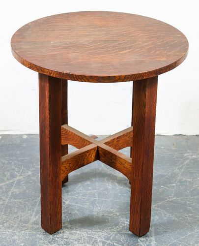 Stickley Craftsman Oak Side Table / Stool