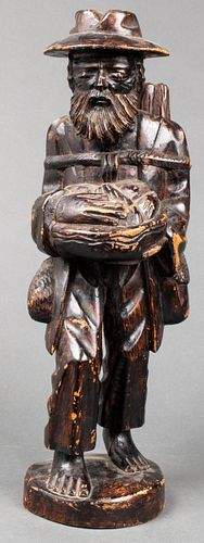 "Folk Art Carved Wood ""Traveler"" Sculpture"