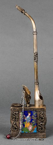 Chinese Water Pipe with Dragons & Figures