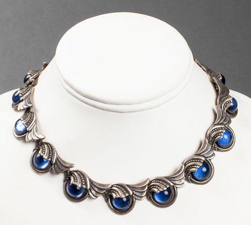 Margot De Taxco Silver Wave Motif Glass Necklace