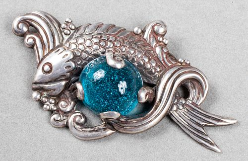 Los Castillo Taxco Silver Aquatic Glass Brooch/Pin