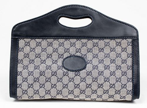 Gucci Navy Blue Leather And Canvas Handbag