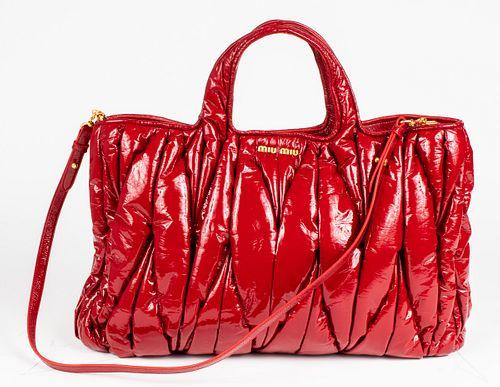 Miu Miu Red Patent Leather Matelasse Tote Bag