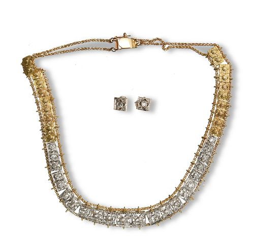Necklace and Earrings, Platinum, 18K Gold and Diamond