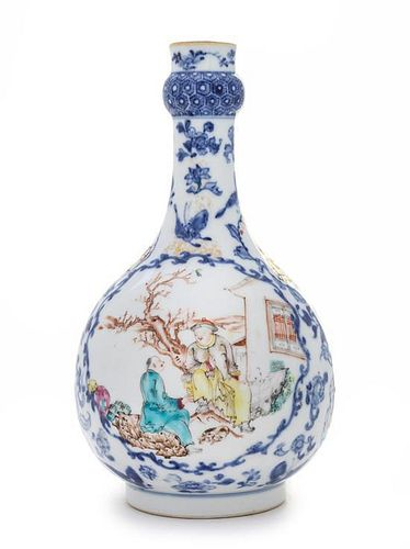 A Famille Rose and Underglazed Blue Porcelain Bottle Vase LIKELY MID-LATE QING DYNASTY Height 9 1/2 inches.