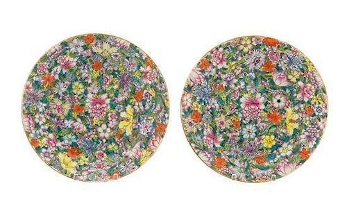 """A Pair of Famille Rose """"Millefleurs"""" Porcelain Dishes Diameter 7 1/2 inches."""