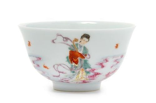 A Famille Rose Porcelain Teacup Diameter 3 1/4 inches.