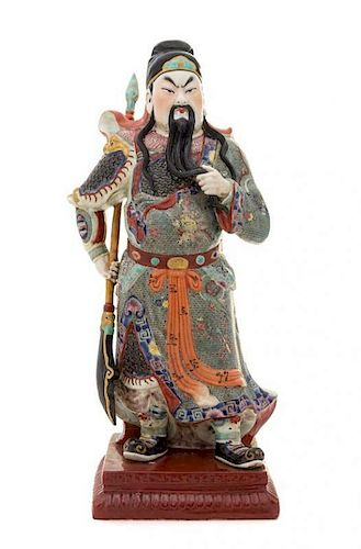 A Famille Rose Porcelain Figure of Guan Yu Height 17 1/8 inches.