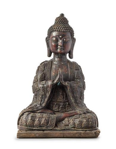 * A Bronze Figure of Buddha Height of figure 16 inches.