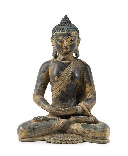 A Bronze Figure of Buddha Height 13 inches.