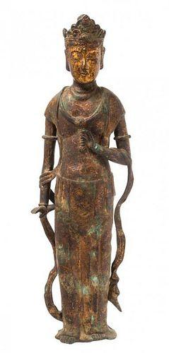 * A Gilt Bronze Figure of a Bodhisattva Height 30 inches.