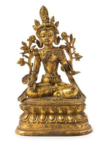 A Gilt Bronze Figure of a Bodhisattva Height 13 1/2 inches.