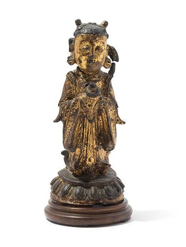 A Gilt Bronze Figure of a Female Immortal, Longnu Height 7 1/2 inches.
