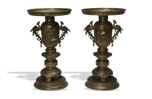 Pair of Japanese Mixed Metal Altar Vases, Meiji