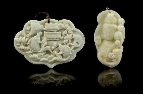 * Two Carved Jade Pendants Width of first 3 5/8 inches.