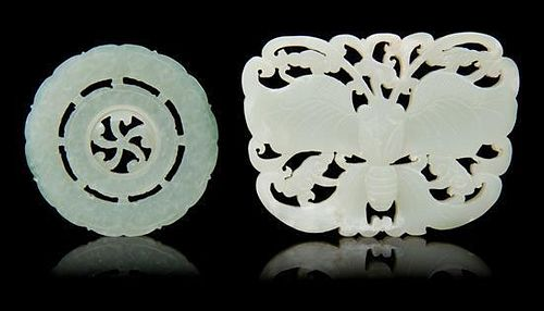 * Two Carved Jade Pendants Length of first 3 inches.