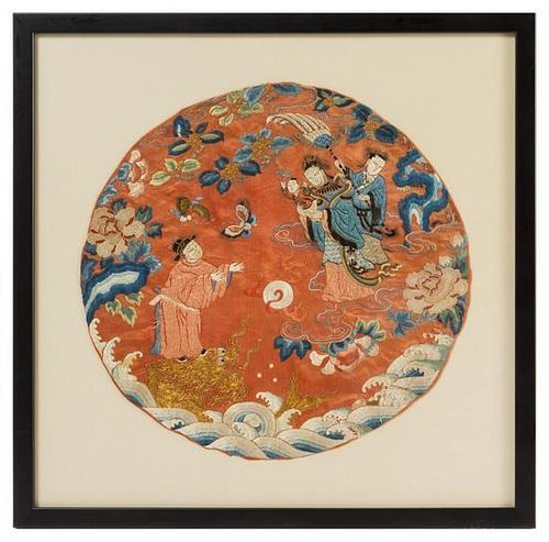 An Embroidered Silk Panel LIKELY 19TH CENTURY Diameter 15 3/4 inches.