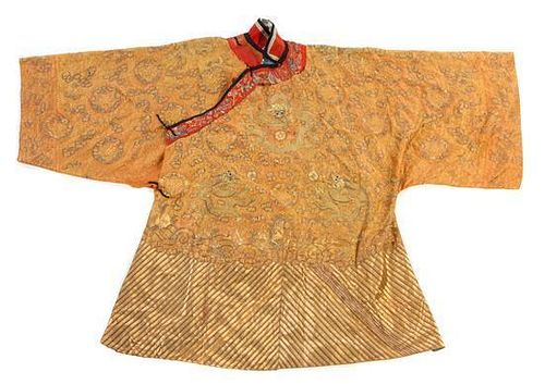 An Embroidered Silk Robe POSSIBLY 19TH CENTURY Height 46 1/2 inches.