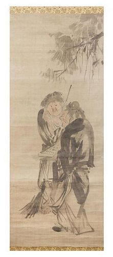* A Japanese Ink and Color on Paper Scroll Height of image 40 1/4 x width 16 1/2 inches.