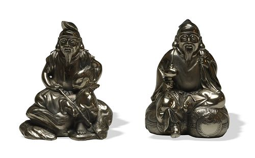 Pair of Japanese Sterling Silver Figures
